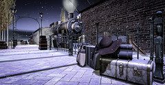 Going Home for the Holidays (Raging Bellls) Tags: snow nightsky nightime train locomotive station secondlife luggage hat steam
