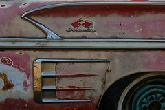 '58 Chevrolet Impala, Highway 3 SE (Eric Seibert) Tags: ericseibert vintagecar rust rustycar oldchevy chevyimpala wisheknorthdakota salvageyard seenontheroad seenbetterdays ruraldecay travelingnorthdakota chrome