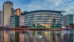 The White Swan (Kev Walker ¦ Thank You 4 Comments n Faves) Tags: england architecture manchester uk bridge urban reflection modern buildings canal dock cityscape salfordquays landmark commercial salford lowry quayside mediacity travel blue sky water skyline river tv media ship footbridge britain quay broadcasting studios quays shipcanal english swan twilight europe contemporary british residential hdr offices televisionstudio