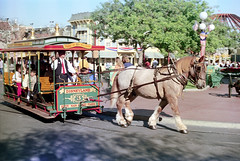74-648 (ndpa / s. lundeen, archivist) Tags: nick dewolf nickdewolf color photographbynickdewolf 1975 1970s film 35mm 74 reel74 autumn fall california southerncalifornia anaheim orangecounty disneyland amusementpark sky bluesky mainstreetusa streetcar rail horse horsedrawn horsedrawnstreetcar people visitors guests passengers man conductor redtie vest lamppost