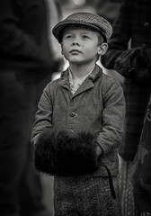 Dickens Festival in Chestertown, Maryland (crabsandbeer (Kevin Moore)) Tags: night winter christmas dickens event festival holiday people boy 1800s monochrome blackandwhite candid bw muff period costume youth childhood kids chestertown maryland easternshore look looking portrait show