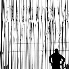caught in the cage (heinzkren) Tags: schwarzweis blackandwhite monochrome biancoetnero noiretblanc street streetphotography candid urban man mann panasonic lumix silhouette construction bau bauarbeiter worker konstruktion frame rahmen lines linien structure steel stahl zone people person human framework wien vienna monierstahl building baustelle betonstahl square minimalism minimalistisch