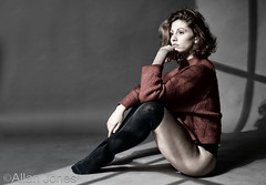 Deep in thought (Allan Jones Photographer) Tags: model female femaleportrait fashion longsocks jumper thoughtful soulful artistic lightsandshadow hdr creativelighting allanjonesphotographer canon5div