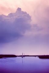 Norfolk In Velvia (Anologital) Tags: sunset clouds norfolk blue light england film river evening coast purple olympus analogue om saltmarsh yaught om4ti positive slide transparency fujifilm velvia 50