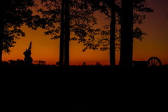 Sunrise on Seminary Ridge (George Neat) Tags: gettysburg american civilwar adams county pa pennsylvania union confederate anv north south unitedstates america army potomac northern virginia history landscape scenic scenery historical battlefield national park monument memorial statue july 1 2 3 1863 george neat patriot portraits usa csa neatroadtrips outside silhouette sunrise color orange carolina