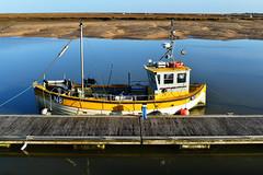 Moored at Wells-next-the-sea (Hidden in the flash.) Tags: wells wellsnextthesea norfolk northnorfolk nikon nikond500 nikkor d500 quay wellsquay boat coast moored sand tide sea yellow fishing fishingboat
