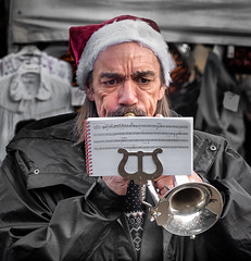 Blowing his own trumpet. (James-Burke) Tags: skipton musicians brassbands streetperformers yorkshire candid street