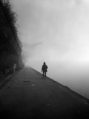 Alone in the fog (Fan.D & Dav.C Photgraphy) Tags: vertical black white people photography outdoors day sky nature footpath architecture fog tranquil scene cloud foggy dark alone walking blackandwhite blackandwhitestreetphotography bwphotography blackandwhitephotography