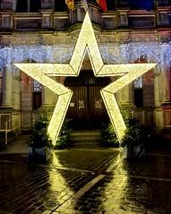 344-021 (mjlockitt) Tags: photojournal belgium tournai city street colours reflections lights oscarwilde gutter christmas star