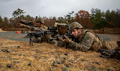 """U.S. Marines hold a defensive line during a patrol as part of a comprehensive force on force event at Forest Light Middle Army (#PACOM) Tags: shiga japan 3rdmarinedivision 3dmardiv commstrat usmc readiness pacific udp 25thregiment 1stbattalion jgsdf 4thregiment 4threg forestlight forestlightmiddlearmy marineforcesreserve 8thinfantryregiment bilateralexercise attack patrol defense aibanotrainingarea usindopacificcommand """"usindopacom"""