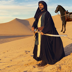 Arsi Nami as Desert Warrior in upcoming French Film (Arsi Nami Fan Flickr page) Tags: arsinami arsi nami persian bedouin prince persia blackhorse italian stallion swedish actor singer songwriter music therapst therapist hollywood dune dunes egypt cairo horse