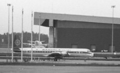 PK-RLD Lockheed L.188C Electra of Mandala Airlines at CGK 131188 (kitmasterbloke) Tags: jakarta cgk sukarnohatta propliner indonesia 1988 airliner classic