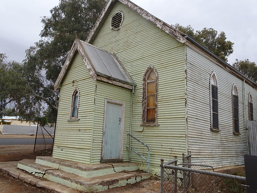 Broken Hill. The galvanised iron Gohic style Picton Methodist church erected around 1890. Moved to this Kaolin St site 1911. Closed some time after it became a Uniting Church in 1977. Recently sold.