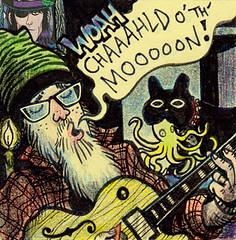 Chaaaahld o' th' Mooooon (Tom Bagley) Tags: childofthemoon keith rehearsal octopus frenchie cartoon postitnote ink colouredpencils guitar beardo tombagley calgary alberta canada keithmas stones