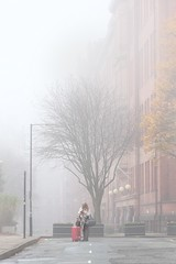 The Rendezvous (seegarysphotos) Tags: seegarysphotos garylewis manchester fog foggy romance romantic atmosphere atmospheric luggage case suitecase travel girl lady mutedcolours mist misty outdoors urban city trees buidings scarf cold frosty