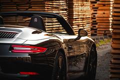 Sawmill - Porsche 991 II Cabrio (Sebastian Bayer) Tags: bokeh cabrio herbst porsche 991ii blätter sägewerk auto warm reflektion weg heck spiegelung fahrzeug 911 holz pfad