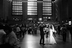 Ready to the great trip... (Aurélien B.) Tags: ny newyork usa train station streetphotography woman wife husband wedding dress dance dancer crowd light windows smile grand central