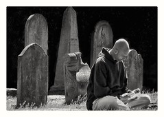 lunchtime amongst  the dead (Bluescruiser1949) Tags: cemeteryphotography blackwhitephotography blackandwhiteversion photoop gravestones lunch reading dead cemetery earlyhistory deceased wanderingaboutphotography blackwhitelandscapephotography landscape omot