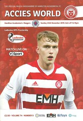 Hamilton Academical v Rangers 20191124 (tcbuzz) Tags: hamilton academical football club foys stadium spfl premiership programme