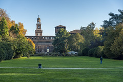 Milan, the Sempione park in November (clodio61) Tags: castellosforzesco europe italy lombardy milan november parcosempione autumn castle city color day fall field foliage grass historic leaves medieval nature old outdoor park photography plant tree urban yellow