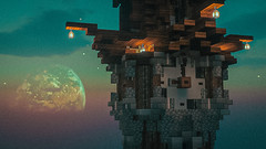 Clock tower at night time 🌓 (novafivesound) Tags: tower clock night nightsky moon bigmoon minecraft games gameplay gaming green vibes steampunk steam stars milkyway cloud clouds