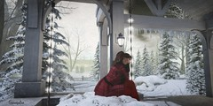 On a cold winters night. (Seraphina Juliesse) Tags: wellmade adventcalendar christmas tree snowfalls truth red night brunette pine secondlife firestorm