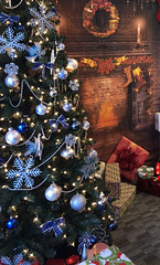 Christmas set-up (lyndarose2020) Tags: christmastree gifts background woodfire