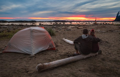 Cribs Creek Camping Sunset (`James Wheeler) Tags: camping bc vancouverisland wct hiking cribscreek canada britishcolumbia westcoasttrail tent sand sunset man landscape sky people water beach recreation sitting outdoors standing outdoor person travel rural mountaintent ocean soil