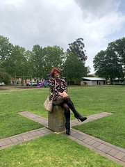 Cece 131219 (8) (rjrgmc28) Tags: adorkable black boots dork dress eyewear geek girl glasses pantyhose stockings tights transgender woman aspergirl