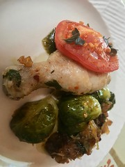 Colorful Healthy Entree Plated (Chic Bee) Tags: colorful healthy dinner plated saute saucemeat plate kosher fryingpan ceramic nonstick chinaplate chicken brusselssprouts onions oliveoil herbs fromthegarden rosemary basil oregano