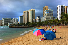Waikiki Beach (ashockenberry) Tags: ashleyhockenberryphotography landscape light natural beach park travel tourism tropical reserve exotic umbrella clouds ocean sea majestic waikiki honolulu hawaii buildings
