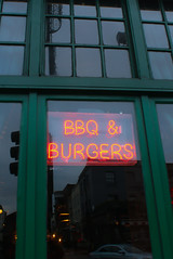 BBQ & BURGUERS (lroosales) Tags: london lights burguer neonlights neon londres travel green red reflection