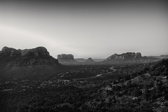 Verde Valley Morning View (Eric Kilby) Tags: sedona arizona verdevalley bellrock courthousebutte sunrise vista landscape morning bw monochrome blackwhite