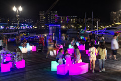 Island Lights | Sentosa Cove, Singapore (Ping Timeout) Tags: sentosa island cove village marina event lights installation 2019 space objekt play fun life illumination evening signature public art outdoor 1degree15 boat vessel yacht parade street food photography people dinner night stall market light square deck motion person