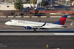 N297SY, Embraer E175, Delta Airlines?Compass, Phoenix  SkyHarbor, Arizona (ColinParker777) Tags: aircraft airplane plane aeroplane aviation landing touchdown runway smoke tyres tires airlines airways air kphx phx phoenix sky harbor harbour international airport usa united states america arizona spotting spotter canon 5dsr 200400 l lens zoom telephoto pro delta compass embraer junglejet e175 erj erj175 commuter