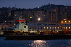 DSCF1523 (Choo_Choo_train) Tags: italy dark harbor darkness genova seaport travel sea night sunrise boat fuji ships fujifilm mirrorless