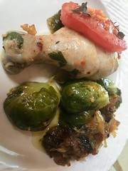 Colorful Healthy Entree Plated-2 (Chic Bee) Tags: healthy food colorful healthful delicious chicken rosemary basil herbs oregano sautee fryingpan nonstick chinaplate ceramic brusselssprouts recipe tomato onion oliveoil koshercuisine jewishcooking shabbat lunch dinner garlic