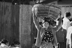 Market activity in Mrauk U (www.holgersbilderwelt.de) Tags: burma mrauku rakhine beautiful white light black travel people street portrait morning art urban woman frau female face outdoor monochrome way hands fine amazing classic kunst scenic historic culture traditional public perspective tradition alley attitude schwarzweiss aperture asia