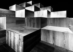 wood is good (rainerralph) Tags: berlin sonyalpha exhibition holzinstallation fe281635gm berlincharlottenburg woodinstallation schwarzweiss sony mcescher a7r3 blackwhite