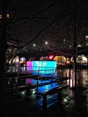 Granary Wharf Leeds again (tubblesnap) Tags: explore rain dark wet snapseed motorola leeds granary wharf art installation night low light