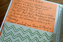 A piece of advice from E.E. Cummings is also wrapped in (Landanna) Tags: embroidery embroideryonpaper broderi broderipåpapir borduren bordurenoppapier handmade handgemaakt håndlavet handwerk papier paper papir paperart paperwork ledger journal artjournal visualdiary sketchbook colourstudy contemporary recycling upcycling design minimalism lyricalminimalism white wit hvid grøn green groen orange oranje slowlivingcreatingmyownpages mindful mindfulliving landanna experimentaldesign quote