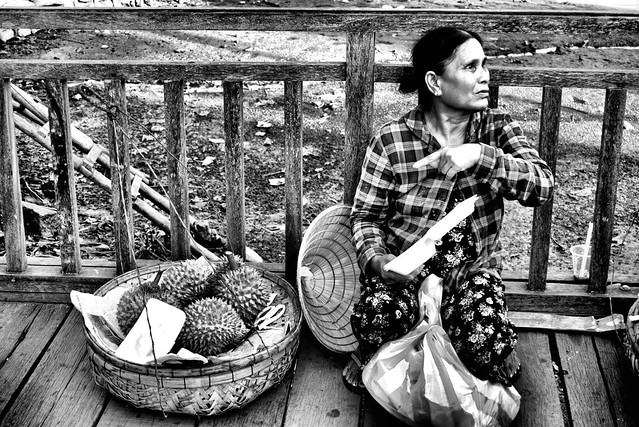 A durian vendor in the ancient city of Hoi An, in Viet Nam. The durian is regarded by many people in South East As