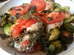 Colorful Healthy Entree Intermediate Pan View (Chic Bee) Tags: healthy food colorful healthful delicious chicken rosemary basil herbs oregano sautee fryingpan nonstick chinaplate ceramic brusselssprouts recipe tomato onion oliveoil koshercuisine jewishcooking shabbat lunch dinner garlic