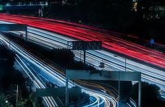 cesar chavez east ramp (pbo31) Tags: sanfrancisco california night black dark nikon december 2019 boury pbo31 d810 color city over bernalheights motion traffic lightstream highway ramp 101 exit red