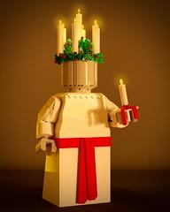 Lucia (aukbricks) Tags: lego moc legomoc afol afolsweden minifig minifigure maxifig maxifigure lucia sweden luciawreath luciacrown candles december13th legodigitaldesigner mecabricks blender render rendering