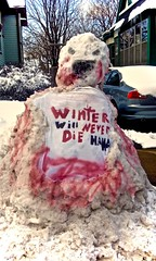 Winter Will Never Die Haha! (jeremy.gilmore.art) Tags: snowman snow winter zombie blood spraypaint red long ice december january february march april blizzard freezing minnesota