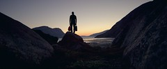 Greenland Man (Ralph Baetschmann) Tags: greenland travel traveling sky silhouette landscape nature outdoor outdoors cinemascope cinematography bluehour aftersunset sunset
