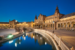 Plaza de España & Blue Hour (Luís Henrique Boucault) Tags: maria architectural square plazadeespana sevillespain background tourist historic people spanish spain travel andalucia plaza europe cityscape outdoor attraction old exterior golden dawn sevilla tourism sunrise landmark famous patio building city seville bridge ancient palace heritage sunset monument andalusia culture town european espana mosaic architecture pilgrim river sevillaspain panoramic park historical