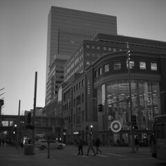 target-hq (kaumpphoto) Tags: rolleiflex 120 tlr ilford hp5 target strteet urban city logo retail business minneapolis intersection crosswalk headquarters urbanscape