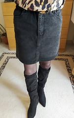 Request for the boots and denim skirt (Paula D_73) Tags: transvestite tranny tights tgirl mtf stockings ootd pantyhose boots skirt secretary crossdresser black denim sexy legs heels s